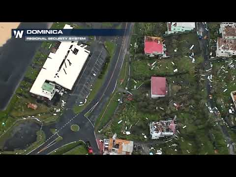 Aerial footage of Hurricane Maria damage in Dominica