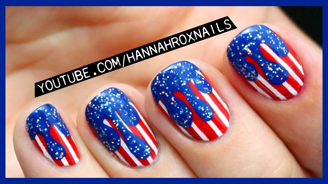 4th of July Drip Nail Art - YouTube
