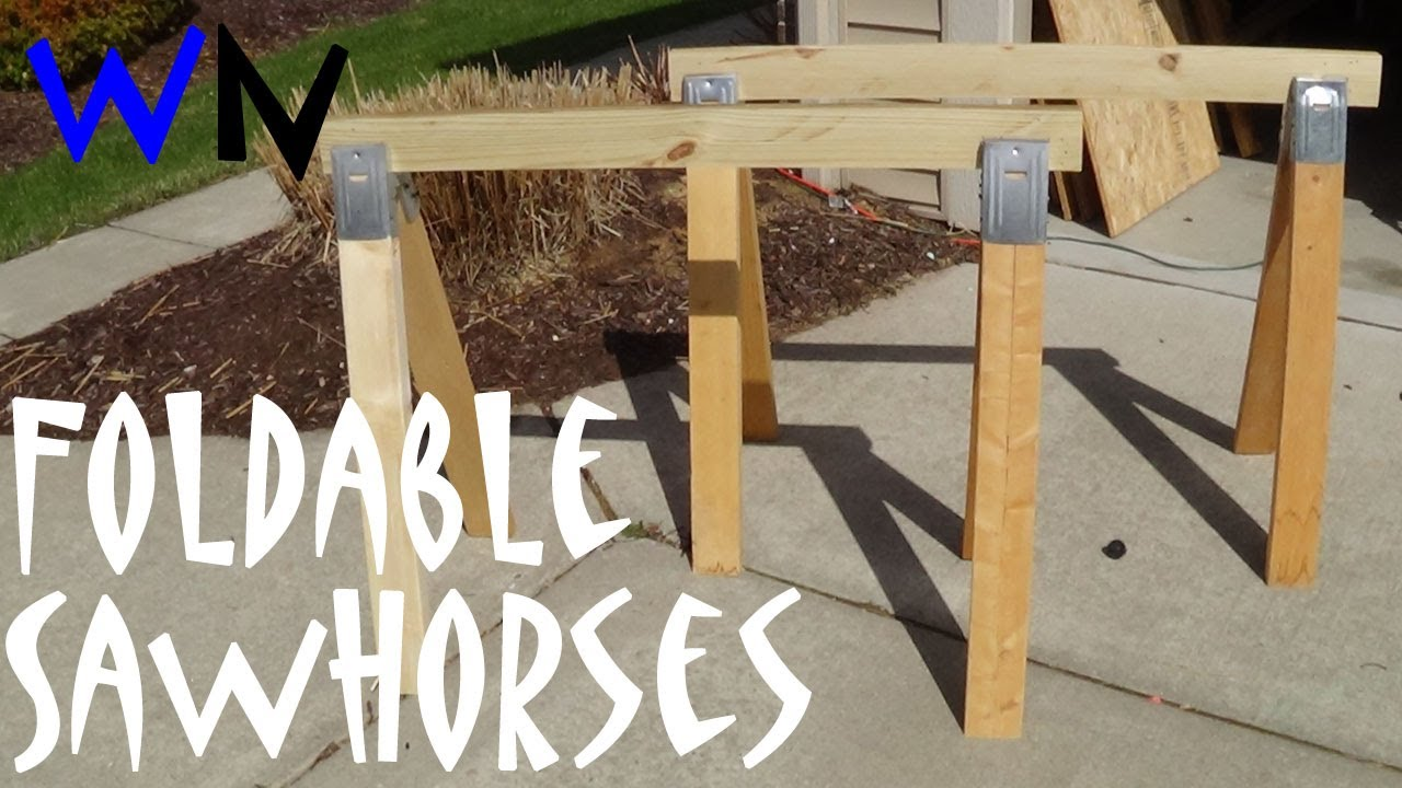How to make simple folding sawhorses youtube for How to make a wooden table at home