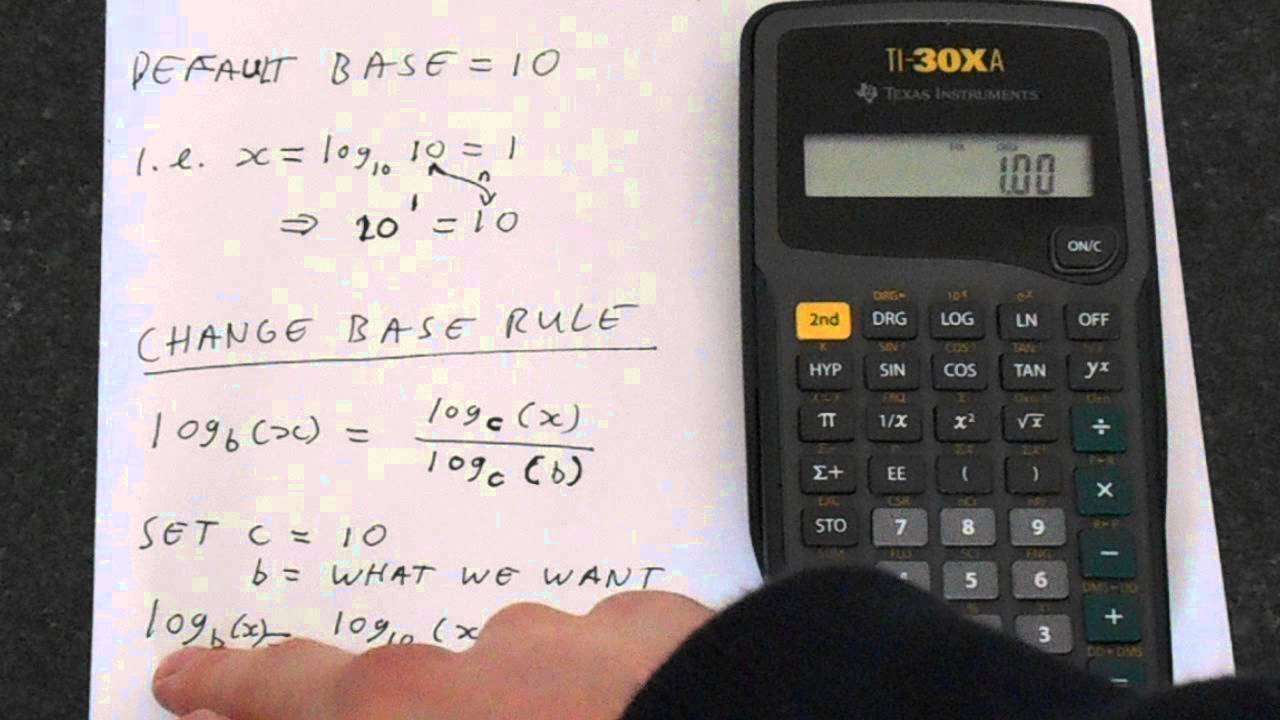 TI 30Xa: How to Change Log Base (log base 2 example) - YouTube