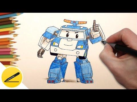 РОБОКАР ПОЛИ - Как Нарисовать Поли Робокар поэтапно - учимся рисовать