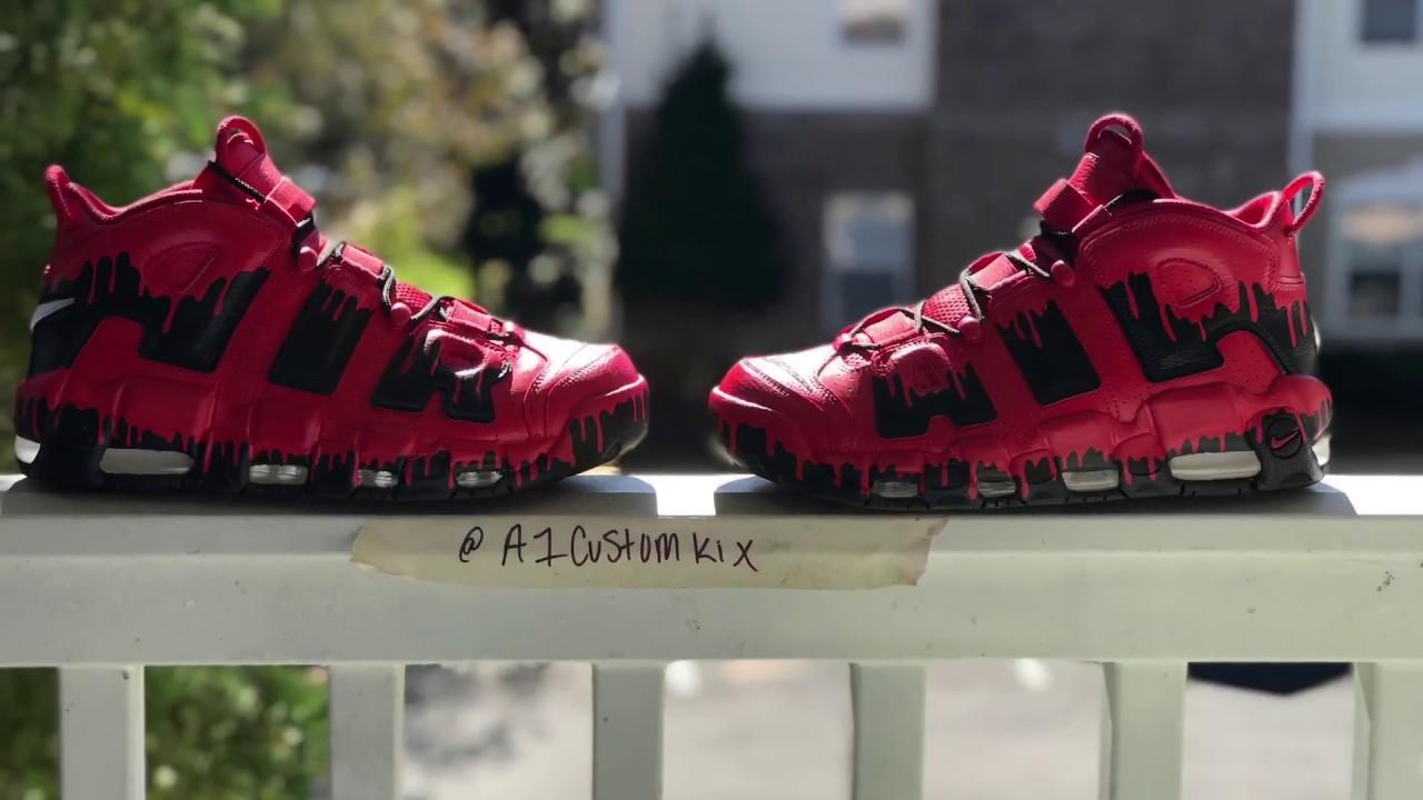 "5cbb0efbb756 A1CustomKix - Custom ""Bloody Shoes"" Air more uptempos - YouTube"