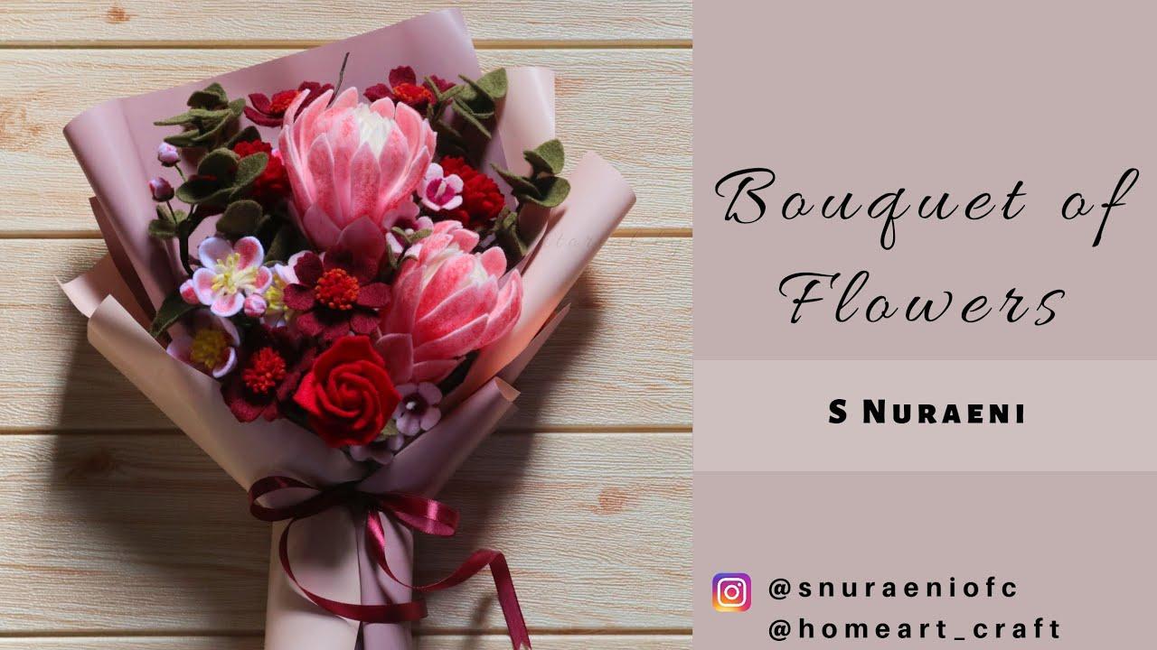 Wrapping Bouquet Diy How To Wrap Flower Bouquet Bouquet Of Felt Flowers S Nuraeni Youtube