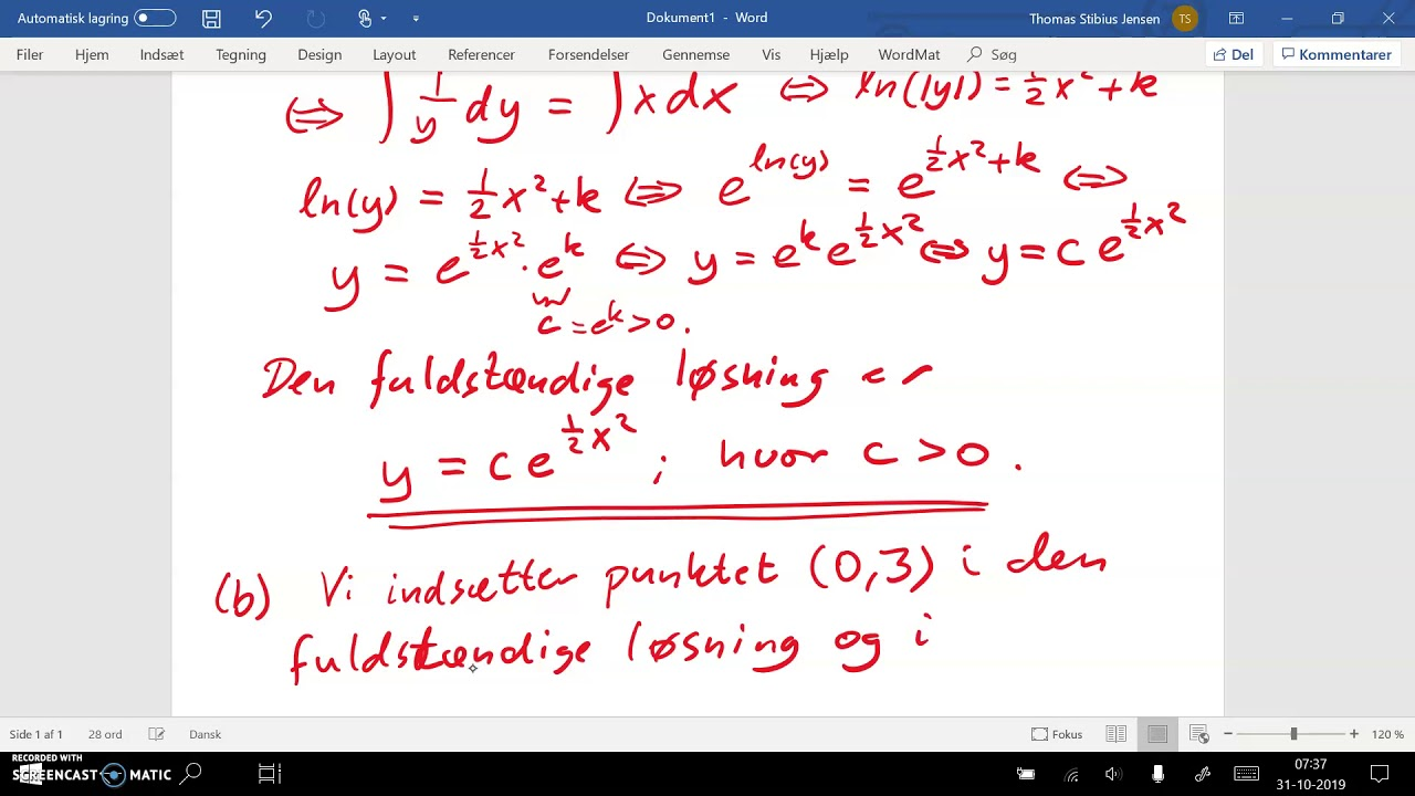 Differentialligning. Opgave uden hjælpemidler: separation af variable - del 2