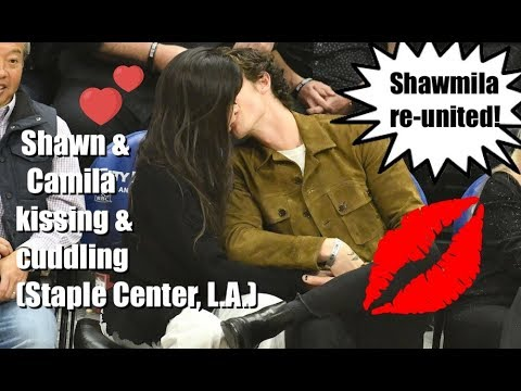 Shawn Mendes & Camila Cabello kissing & cuddling at the Staple Center LA