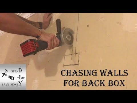 Chasing out a wall for an electrical back box and cable. Also how to get the cables behind coving