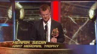 Henrik Sedin Wins the Hart Trophy - HD