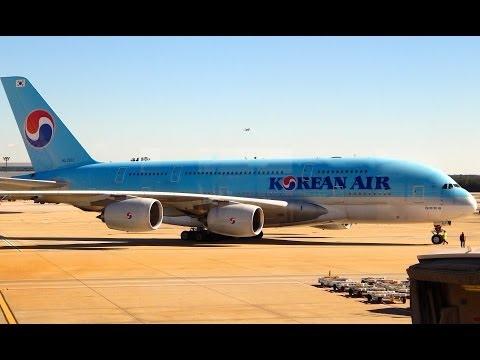 Korean Air Airbus A380-800 taxi and takeoff at Hartsfield Jackson Atlanta Int