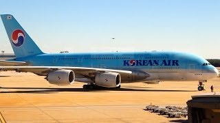 Korean Air Airbus A380-800 taxi and takeoff at Hartsfield Jackson Atlanta Int'l Airport (KATL)