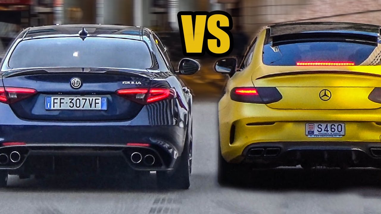 Alfa romeo giulia qv vs mercedes amg c63 coupe sound for Alfa romeo vs mercedes benz