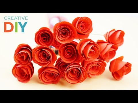 How To Make Rolled Paper Roses Flower - DIY Rose Swirl Paper Easy Tutorial | Creative DIY