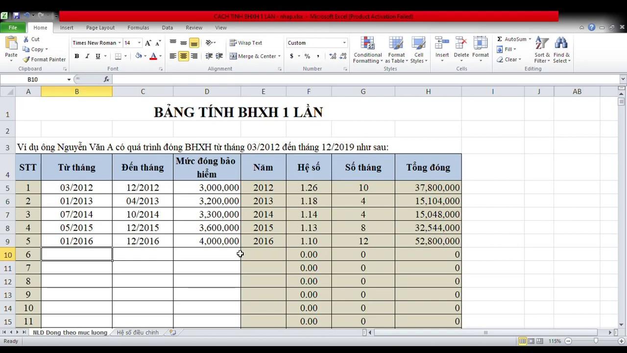 Cách tính BHXH 1 lần tự động bằng file EXCEL – Hướng dẫn nhận Bảo Hiểm Xã Hội 1 lần