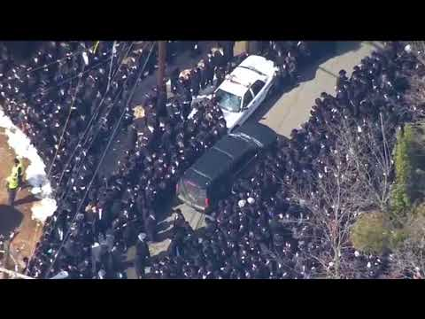 Aerial Footage - Funeral Of Viznitzer Rebbe Rabbi Mordechai Hager in Monsey