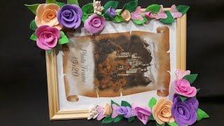 Рамка для фото с цветами из фоамирана Мастер класс