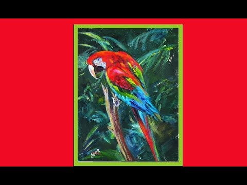 How to Paint  A Red Macaw Parrot in Acrylics on Luggage
