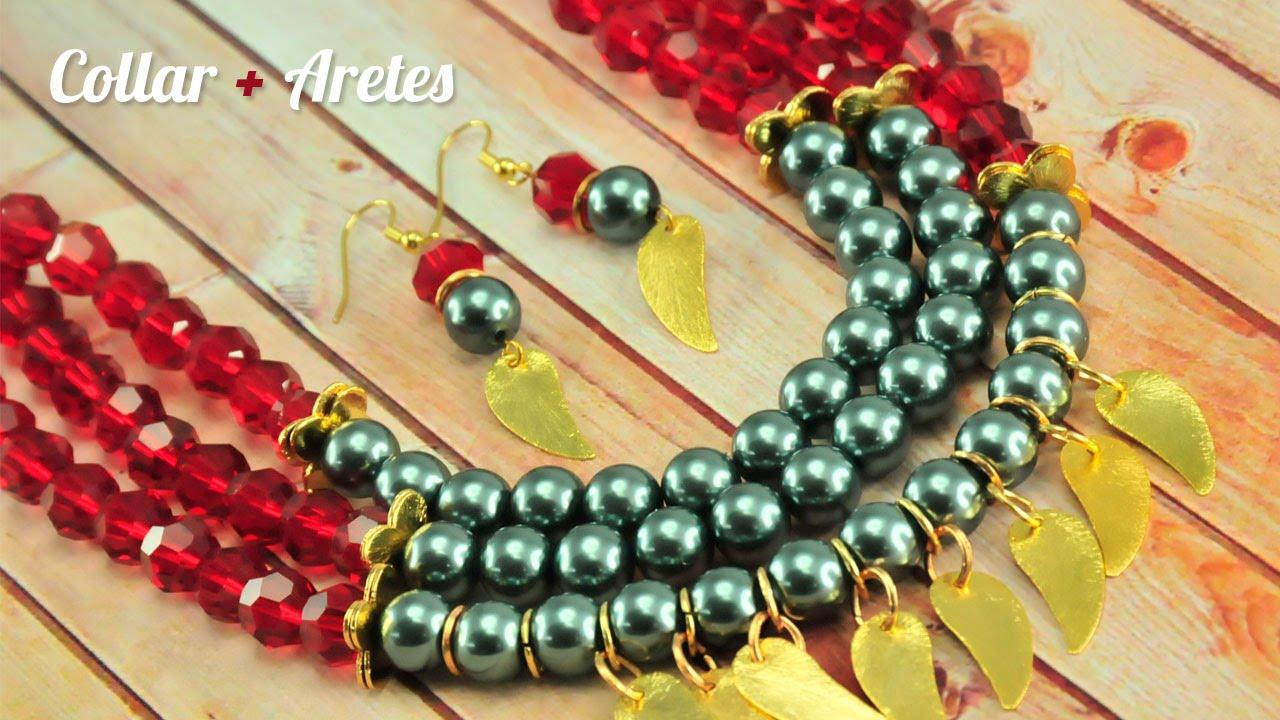b5e2c14176ba Como hacer un collar y aretes Kit 23167 - YouTube