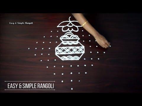 13 × 1 DOTS || KOLAM FOR PONGAL || SIMPLE PONGAL POT RANGOLI || STRAIGHT DOTS || HOW TO DRAW ||
