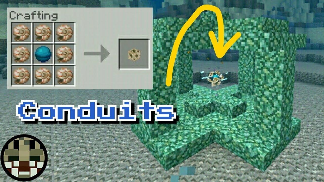 Conduits Heart Of The Sea Nautilus Shells Update Aquatic Minecraft Pe 1 5 0 1 Agcraft Youtube