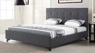 Beliani Upholstered Bed - Fabric - 6 Ft - King Size - Grey - Ambassador - Eng