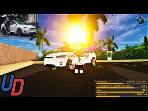 Review of the *NEW* Tesla Model X in Ultimate Driving Roblox!