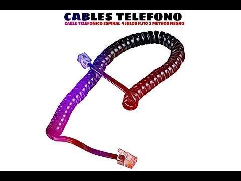 Video de Cable telefonico espiral  4 hilos rj10 2 M Negro