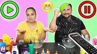 Pause Play ▶️ Slime Challenge Pause Slaym Özlem vs Fatih Eğlenceli Oyun Videosu Vak Vak TV