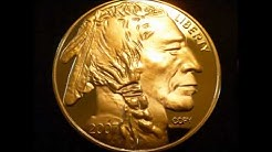 1 Troy Ounce 24k .999 Fine Gold Plated $50 Buffalo Replica Coin