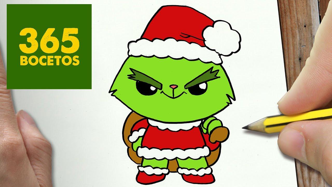 Como Dibujar Un Grinch Para Navidad Paso A Paso Dibujos Kawaii