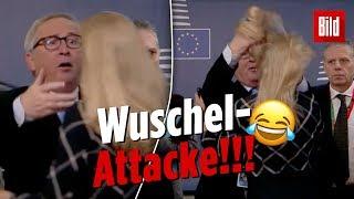 Jean-Claude Juncker durchwuschelt EU-Mitarbeiterin die Haare | EU-Gipfel