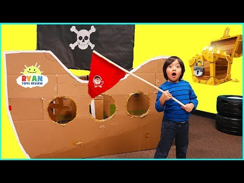 Ryan Pretend Play with Box Fort Pirate Ship Treasure Hunting!!