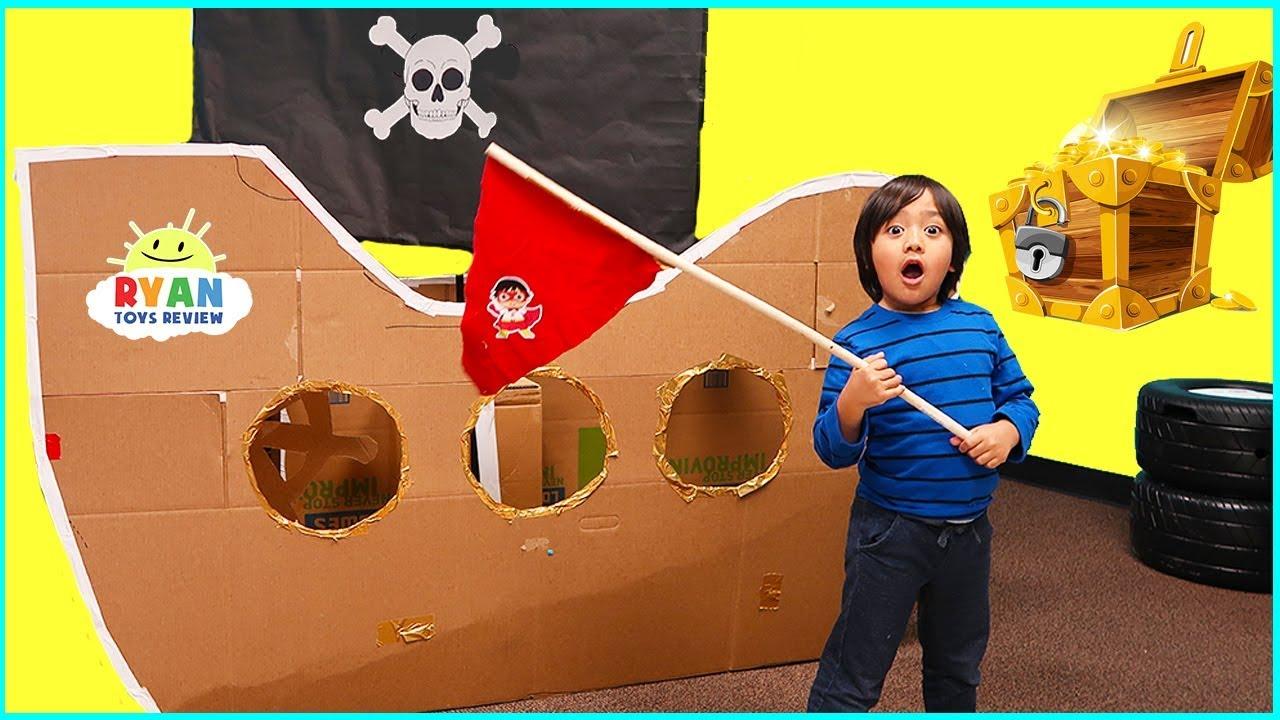 Ryan Pretend Play with Box Fort Pirate Ship Treasure Hunting!!