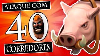 CLASH OF CLANS | Ataque com 40 Corredores / Hog Rider | Funciona?