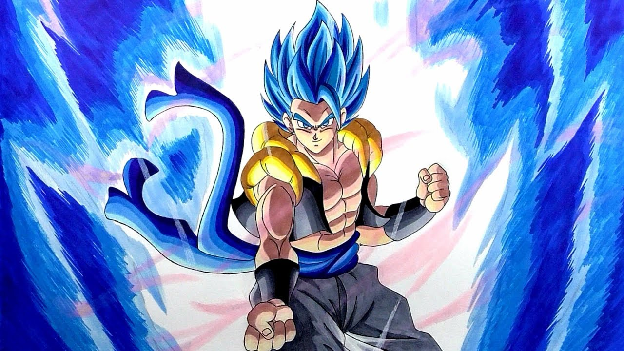 Drawing Gogeta Blue Movie Pose Dragon Ball Super Broly