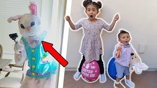 ESCAPE THE SNEAKY EASTER BUNNY IN GIANT EGG SURPRISE HUNT!!!