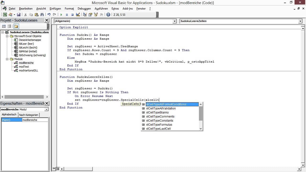 Excel - Bereiche und Namen Tutorial: Leere und volle Zellen ...