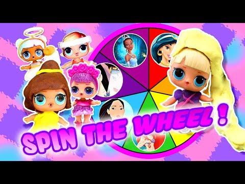 LOL Surprise Dolls Disney Princess Spin the Wheel Play-Doh Game w/ Sugar!   LOL Dolls Families