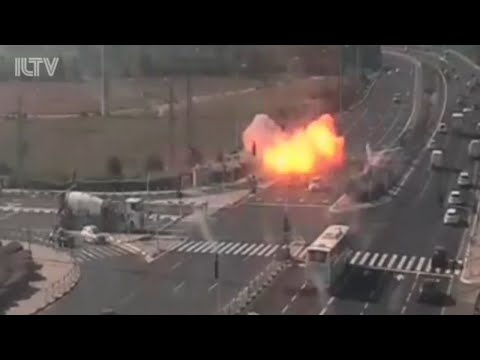 SHOCKING VIDEO: Rocket attack from Gaza nearly hits car in Israel