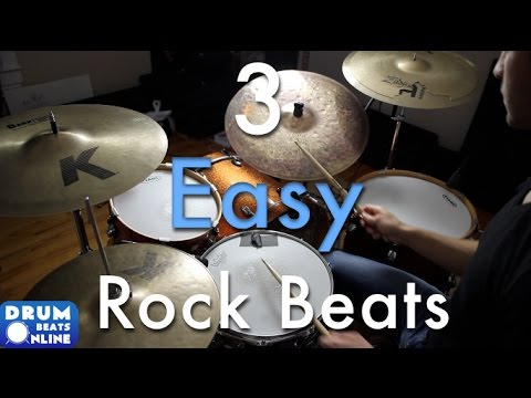 3 Easy Beginner Rock Beats - Beginner Drum Lesson   Drum Beats Online