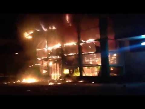 Ukraine Mariupol. PrivatBank Building Burns (04.05.2014)