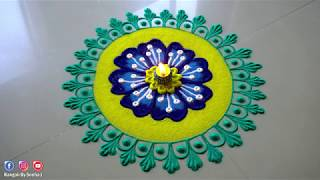Beautiful And Innovative Flowers Rangoli Design by Sneha J | Satisfying Rangoli Art |