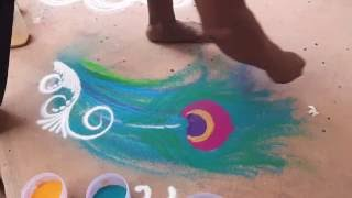 Diwali Rangoli Small Designs How to draw Peacock Feather by Satish Thavi  Easy Rangoli