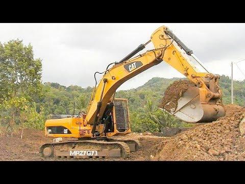 Big Excavator Bulldozer Working on Bridge Construction