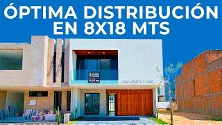 CASA CON ÓPTIMA DISTRIBUCIÓN EN UN TERRENO DE 8X18 MTS | OBRAS AJENAS