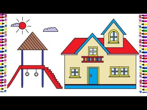 Hướng dẫn vẽ và tô màu ngôi nhà|| Em học vẽ Paint trên máy tính