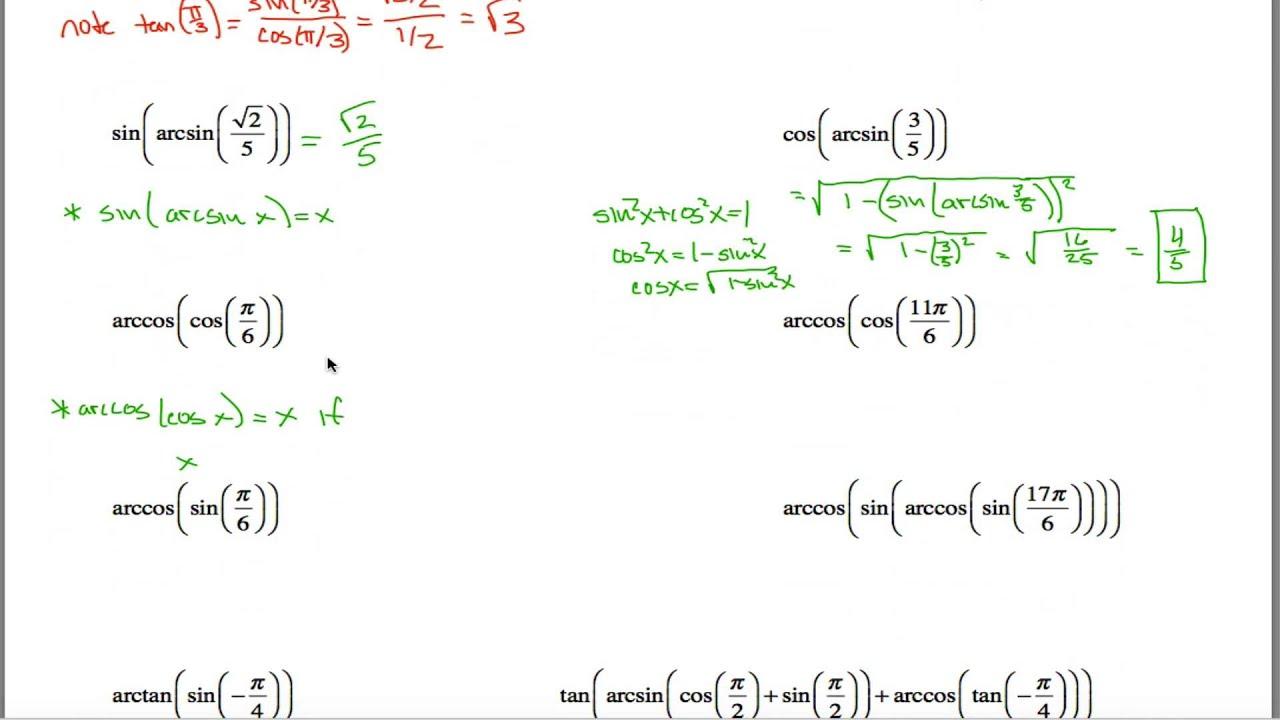 Inverse Trig Worksheet Part 1