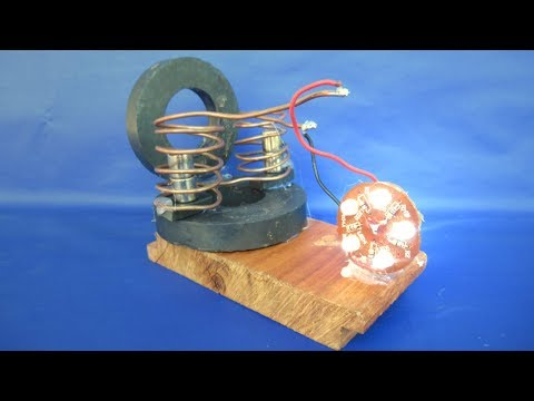 Free energy generator with LED light bulbs - Science Project at home 2018