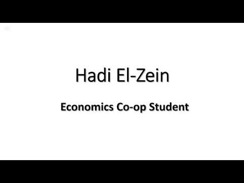 Hadi El-Zein - Economics Co-op Student