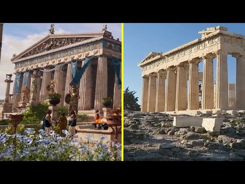 Assassin's Creed Odyssey Game Vs Real Life - Athens Landmarks Comparison