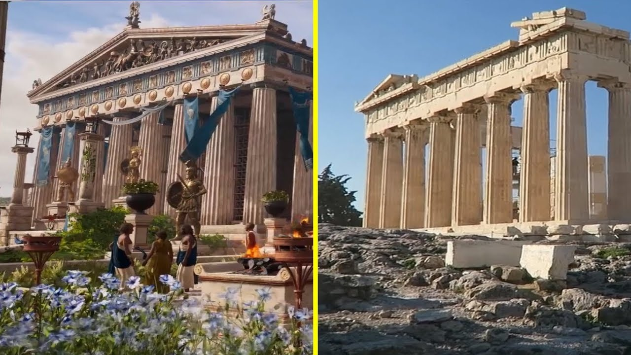 Assassin S Creed Odyssey Game Vs Real Life Athens Landmarks Comparison Youtube