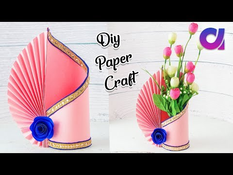 Easy Paper Flower Vase | How to Make A Flower Vase At Home | Simple Paper Craft | Artkala